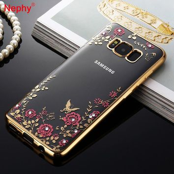Nephy Rhinestones Case For Samsung Galaxy S8 Plus S6 S7 Edge S5 Core Grand Prime A3 A5 A7 J1 J2 J3 J5 J7 2015 2016 2017 Cover