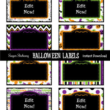 Halloween Party Labels - INSTANTLY Downloadable and EDITABLE File!! Personalize at home with Adobe Reader NOW! - Halloween Party Supplies