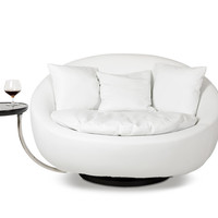 Divani Casa Alba - Modern Leatherette Swivel Round Lounge Chair