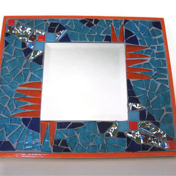 Mosaic Mirror Turquoise Orange Glass Armenian Broken china Art home decoration Mixed Media abstract Wall hanging