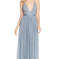 Needle & Thread Beaded Georgette Fit & Flare Gown   Nordstrom