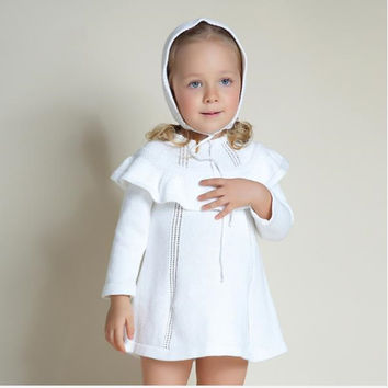 6 months to 4 age baby girl sweater dress with a hat little girl cloak long sweater