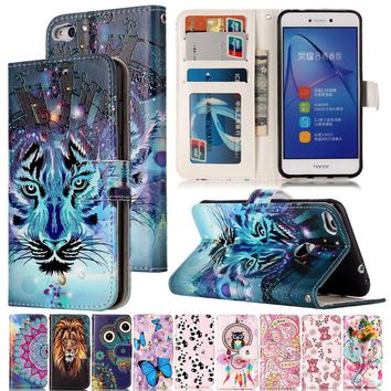 Varnish Relief Leather Case For Huawei P8 Lite 2017 Cover Leather Flip Wallet Phone Case For Huawei P9 lite Mobile Phone Shell