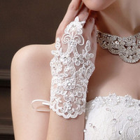 Bride Wedding Party Dress Fingerless Rhinestone Lace Satin Bridal Gloves Feitong