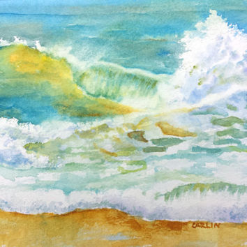 Ocean Wave, Original Watercolor, 5x7,  Surf painting, Watercolor Water, Hawaii, Caribbean,Tropical Art,  Beach theme