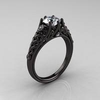 Reserved for Matt and Amber - Designer Exclusive Classic 14K Black Gold 1.0 Carat White Sapphire Diamond Lace Ring R175-14KBGDWS