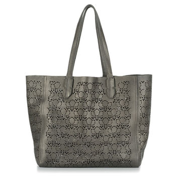 Leather Laser Cut Tote, Gunmetal, Totes