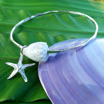 Starfish Charm Shell Sterlin Silver Bangle