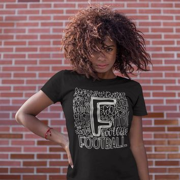 Women's Football T Shirt Typography Football Shirts Football Game Day T Shirt Game Shirts Football Typography