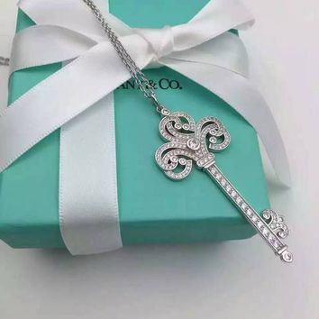 Tiffany & Co. Heart-shaped diamond platinum Bokhary key Necklace