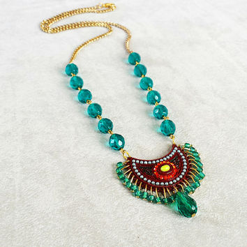 Statement Necklace, Emerald, Bohemian Gypsy Necklace, Gypsy Jewelry, Bohemian Jewelry, Boho Necklace, free shipping