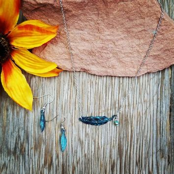 Delicate Patina Feather Necklace