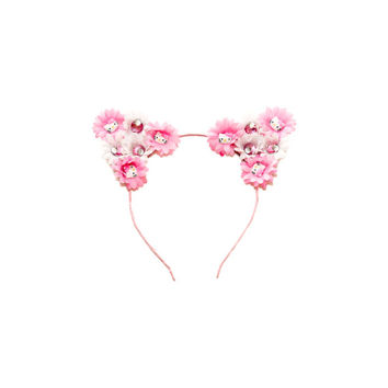 Hello Kitty Cat Ear Headband, Floral Cat Ears, Kitty Ears Headband, Rave Costume, Hello Kitty Costume, Electric Daisy Carnival, Ezoo, PLUR