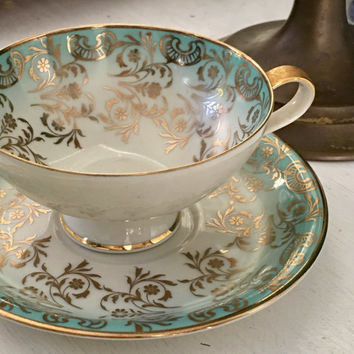 Antique Tea Cup and Saucer, Teacup Set, Gold Aqua Blue Tea Cup, Germany, Hand Painted Porcelain, Mothers Day Gift for Mom