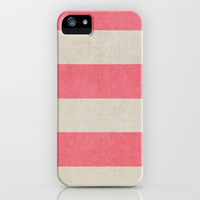 vintage coral stripes iPhone Case by Her Art | Society6