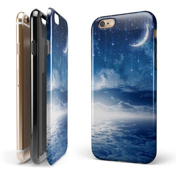 Vivid Blue Falling Stars in the Night Sky iPhone 6/6s or 6/6s Plus 2-Piece Hybrid INK-Fuzed Case