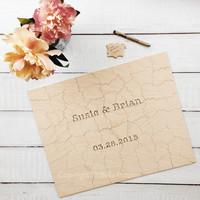 Reserved for Brandi - 25 piece WOOD Puzzle Wedding Guest Book