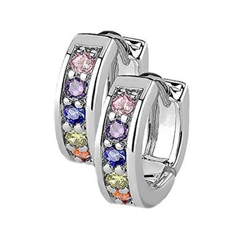 BodyJ4You Small Earrings Hoops Huggie Half Circle Pave CZ Rainbow Crystal Stainless Steel 12mm Hoop