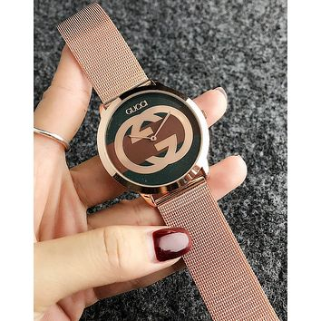 GUCCI Fashion Women Men Big Logo Quartz Watches Wrist Watch Rose Golden