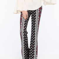 Full Tilt Paisley Print Womens Flare Pants Black/Burgundy  In Sizes