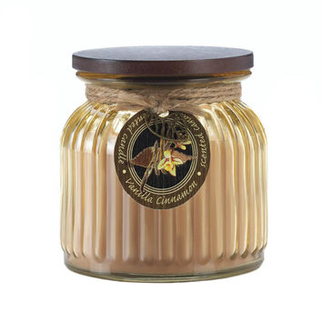 Vanilla Cinnamon Ribbed Jar Candle