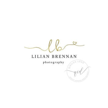 Premade boutique gold logo, Heart gold logo, Photographer logo, Wedding Jewelry Logo Crafter, Golden Logo Template Personalized, Modern