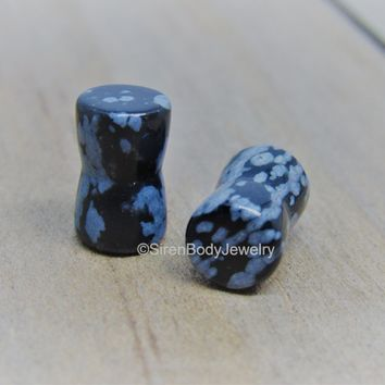Snowflake obsidian plug earrings pick your size stone gauges double flare plugs