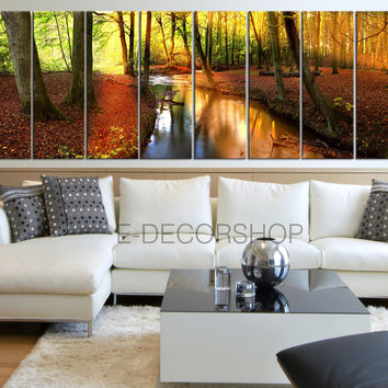 Extra Large Wall Art Forest in Autumn with River Canvas Print Set | 8 Panel Canvas Art Print | Art Canvas Painting Forest Stream