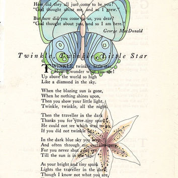 Blue-Green Butterfly with Starburst Flower Book Page Art Poem Page Art Upcycled Art Print Antique Poem Book Blue-Green Butterfly Print cp387