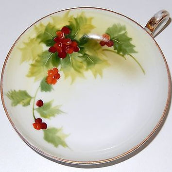 Antique Nippon Porcelain Bowl Dish Handpainted Red Christmas Holly Berry