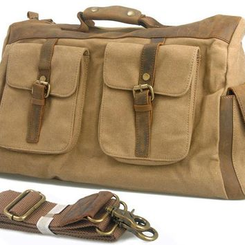 Vintage Retro military canvas leather men travel bags