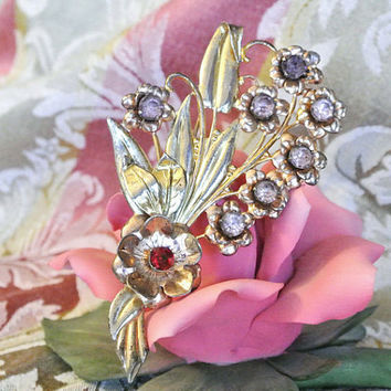1940s 40s Rhinestone Brooch Sterling Silver Vermeil Gold Antique Brooch Pin Bouquet Flowers Floral WW II Era Fashion Jewelry Purple Red