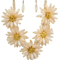 Ivory & Yellow Beaded Sunflower Cluster Necklace & Earring Set
