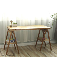 Unique Solid Wood Folding Trestle Table Style Console Table
