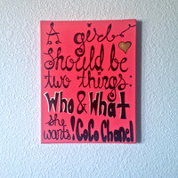 "11"" x 14"" A Girl Should Be Two Things: Who and What She Wants CoCo Chanel Decor Quote Painting Room Wall Art Canvas"