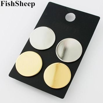 Minimalist Round Big Circle Disc Stud Earrings For Women Brief Female Light Gold Color Earring Piercing Brincos Fashion Jewelry