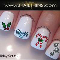 Set No 2 Holiday Nail Decals Christmas Nail Design, Nail Art