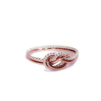 Love knot ring, double knot ring, Rose gold, two toned ring - bridesmaid gift