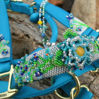 Beaded Horse Halter- Custom Horse Halter-Hand Beaded Flowers- HORSE TACK