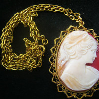 Vintage 1950's Mid Century LJM Cameo Pendant with Chain