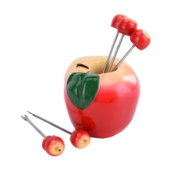 Lovely apple shaped fruit fork stainless steel fork Kitchen Tool Tableware toothpick Snack Pick Dinner Table Decor