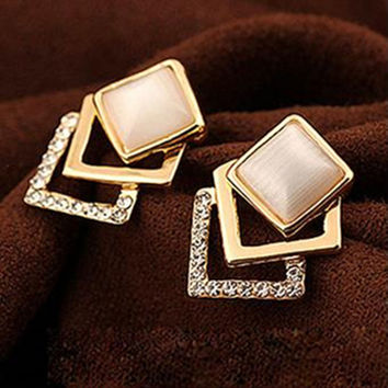 18KG Plated 2016 New Style Korean Temperament OL Fashion Sparking Rhinestone 18KGP Geometry Square Opal Stud Earrings