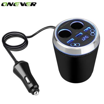 Onever 2 in 1 Car Cup Holder 3 USB Car Charger with 2 Cigarette Lighter Socket Bluetooth FM Transmitter Power Adapter Voltmeter