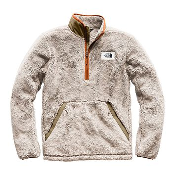Men's Campshire Sherpa Fleece Pullover in Granite Bluff Tan & Beech Green by The North Face - FINAL SALE