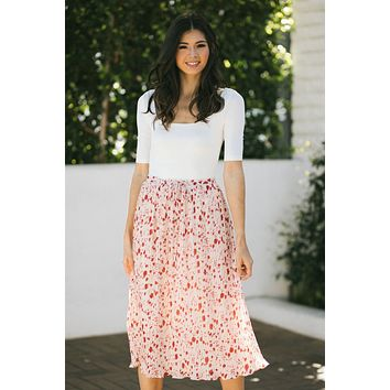Marina Pleated Floral Midi Skirt