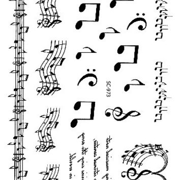 SC2973 Large Taty Sketch Black White Music Notes Water Transfer Body Art Temporary Tattoo Stickers Fake Tatoos tatouage