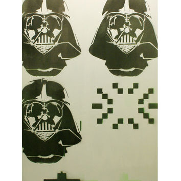 SPACE INVADER VADER 16 x 25 on Wood Space Invader and Star Wars Graffiti and Pop Art Inspired Original Artwork Original Painting Atari Art