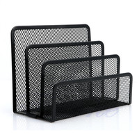Mesh Letter Sorter Mail Document Tray Desk Office File Organiser Holder Black