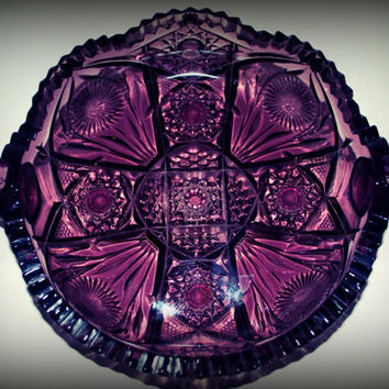 vintage amethyst cut glass  handled dish    purple glass