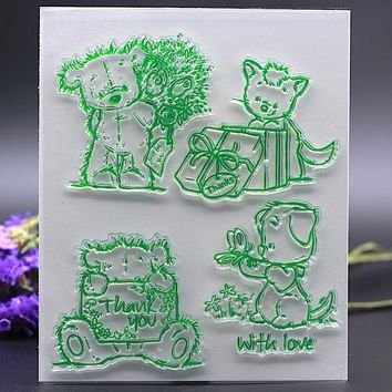 12x15CM Clear Stamp for DIY Scrapbook Card album paper craft silicon rubber roller transparent stamp cute bear cat dog thank you